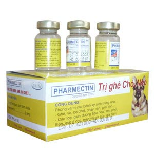 Thuốc tiêm Pharmectin trị viêm da, ghẻ cho chó bị dạng demodex
